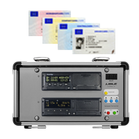 Image of a dual tachograph training case and tachograph training cards